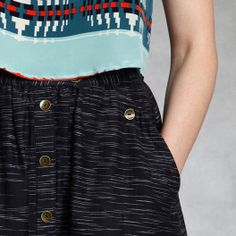 "www.zady.com  Since 1863 Pendleton has been a beacon of quality American manufacturing. For Pendleton The Portland Collection, the design is in the details. The team charged with reviving Pendleton's USA-made heritage brand made a strong play with texture this season. The contemporary-fitting Navy McKenzie Skirt sits low on the waist. The 29"" A-line skirt is made of 100% Khadi and is woven and lined in Pendleton-owned American mills. @Zady"