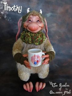 Forest Creatures. Timothy Rabbit and his cup of tea. Poseable Doll