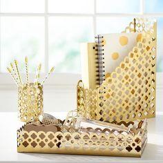 Golden Glam Desk Accessories   PBteen