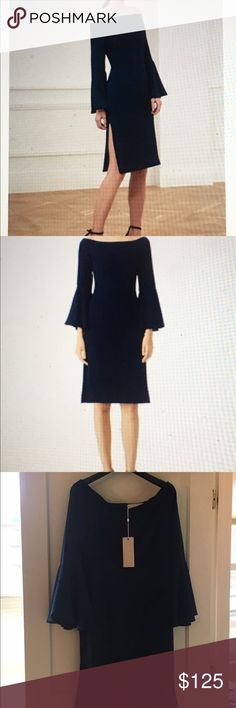 Brand New Navy Keepsake The Label 'Harmony' Dress New, never worn size L (US size 8). Featured at Nordstrom and Bloomingdales. Off shoulder with side slits. 3/4 bell sleeves. Flirty yet sophisticated! Keepsake Dresses
