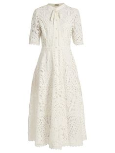 Temperley London Berry Lace Dress in WhiteTemperley London is renowned for its free-spirited and feminine ap White Flare Dress, White Dress Outfit, White Fitted Dress, Dress Outfits, Lace Dress, Dress Up, Teen Outfits, Classy Outfits, Temperley London Dress
