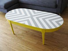 Bespoke Hand Painted Upcycled Geometric Chevron Oval Wood Coffee Table. £130.00, via Etsy.