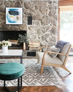 ROOM TOUR: A cozy, collected and deliciously moody living room in the Pacific Northwest — Sunny Circle Studio Eclectic Living Room, My Living Room, Living Room Decor, Living Spaces, Modern Mountain Home, Fireplace Design, Fireplace Stone, Fireplaces, A Frame Cabin
