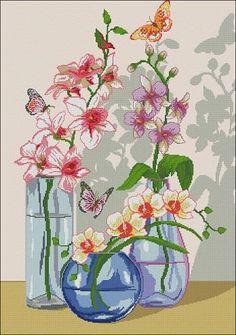 """Orchids in a vase""- cross-stitch design"