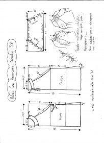 Esquema de modelagem de Blusa com cava americana e drapeado solto tamanho 38.
