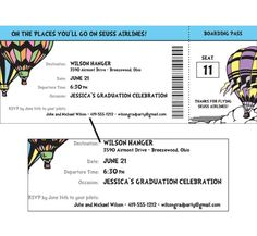 Oh The Places You'll Go Theme Boarding Pass Invitation