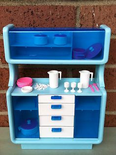 I wanted this when I was a kid. I had the rest of the set. Vtg Barbie Dream House Blue BUFFET HUTCH China Cabinet Kitchen Furniture + Extra | eBay