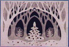 """Нашла в книге """"Ажурная бумага"""" вот такую картинку """"Зимний лес"""". Очень понравилась. фото 1"""