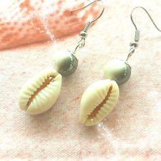 443 - boucles d oreilles en coquillage et perle