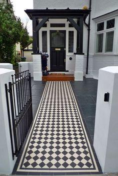 balham landscaping london black and white victorian mosaic tile path - London Garden Design Victorian Front Garden, Victorian Front Doors, Victorian Terrace, Victorian Mosaic Tile, Porch Tile, Front Path, Verge, Path Ideas, London Garden