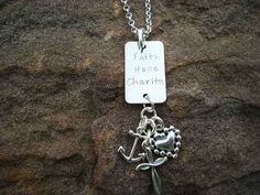 Faith Hope Charity Rectangle Pendant Hand Stamped Necklace, Sterling  The cross is symbolic of the faith we must keep, the heart reminds us to carry out acts of charity and the anchor represents the hope that keeps us afloat