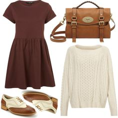 Outfit - red dress, white knit jumper, brown shoulder bag and oxford shoes Outfits Dress, Fall Outfits, Casual Outfits, Dress Shoes, Dresses, Aesthetic Fashion, Aesthetic Clothes, Modest Fashion, Fashion Outfits