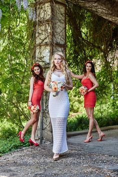 Knitted Bride Bridesmaid Dresses, Wedding Dresses, Wedding Bride, Coral, Clothes For Women, Lace, Flower, Fashion, Bridesmade Dresses