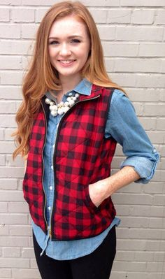 Red Buffalo Vest | Fabulous Finds Boutique. Bet this would work with my chambray and plain red vest too.