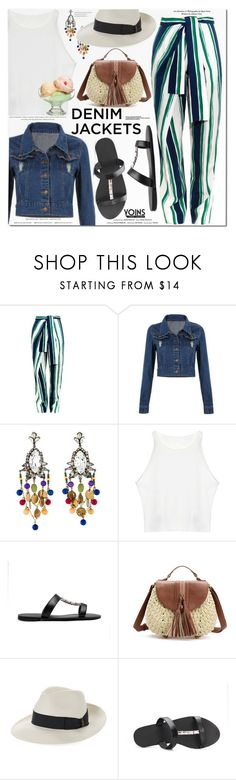 """""""Denim Jackets-Yoins7"""" by monica-dick ❤ liked on Polyvore featuring Chloé, Erickson Beamon, Vision and Borsalino"""