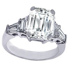 Emerald Cut diamond Engagement Ring setting with trapezoids and baguettes 0.60 tcw.
