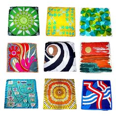 Her designs are somehow retro and fashion forward at once. And, although many of us don't wear scarves so much anymore (a shame, really), they are still fabulous works of art. They would look lovely framed.  #vera #scarf