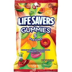 Life Savers 5 Flavors Gummies Candy Bag, 7 ounce Packs) Pack of 12 seven-ounce bags (total of 84 ounces) Gummy candy featuring regular LifeSavers flavors Five flavors per bag: cherry, watermelon, green apple, strawberry & orange Case of 12 Units Squishies, Life Saver Gummies, Lifesaver Candy, Candy Bags, Hard Candy, Life Savers, Gelatin, Gourmet Recipes, Sweet Treats