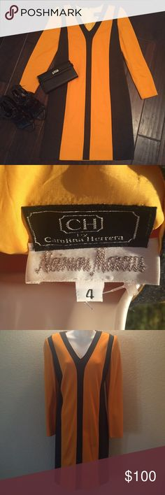 Vintage Carolina Herrera Dress Carolina Herrera for Neiman Marcus shift dress. Great vintage condition. $1599 MSRP open to offers and trades with positive feedback. Size 4 but could also fit a 6. Carolina Herrera Dresses Long Sleeve