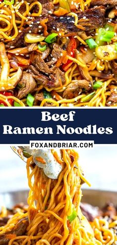 Beef Ramen Noodle Recipe is a quick stir fry using ramen noodles, beef, and vegetables, with a savory stir fry sauce. Make this Beef Noodle Stir Fry for a quick and easy dinner tonight!