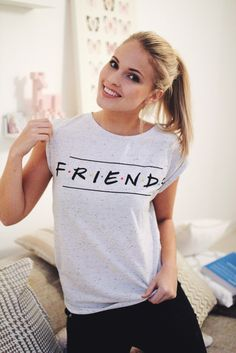 Emilie Nereng in her white 'Friends' shirt