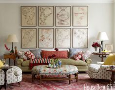 "<p>Designer Daniel Sachs used antiques and a mix of ikat, floral, and striped patterns in this <a href=""http://www.housebeautiful.com/decorating/global-antique-decor-1010"" target=""_blank"">high-bohemian living room</a>. The owner's collection of contemporary art is integral to the overall style, including this series of drawings by Andrew Lord above the sofa.</p>"