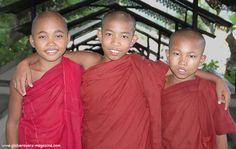Novice monks, Stupas on Soon U Ponya Shin Paya, Sagaing Hill, Burma