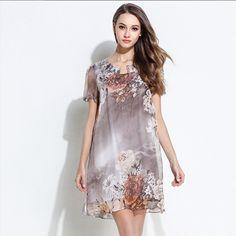 Direct Selling Knee-length Diamonds Novelty 2017 Summer New Large Size Thin Chiffon Dress Personality Drilling Tee Print Short