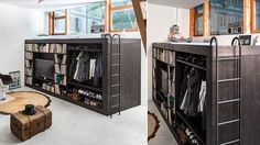 Maximize living space with a loft bed that houses an entertainment system. #TV #Furniture