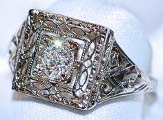 #960 14k White Gold .39ct Old European Cut Diamond Ring