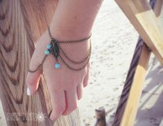 Slave Bracelet Bronze Chain Turquoise Stones Bronze Leaf Boho Hipster Hand Body Jewelry Bohemian Style