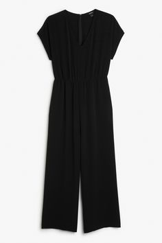 Monki Image 1 of Wide leg jumpsuit in Black