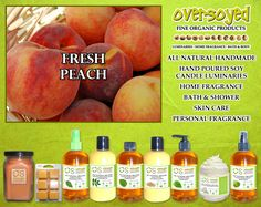 Fresh Peach Product Collection - Just like biting into a fresh peach and juice running down your chin! #OverSoyed #FreshPeach #Fresh #Peach #MixedFruits #MixedFruit #Fruity #Fruit #Candles #HomeFragrance #BathandBody #Beauty