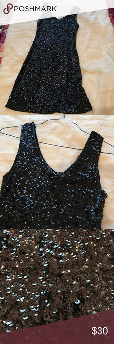 Sequined black dress! Fully sequined black cocktail dress! Perfect for a formal or party! Amber Blue Dresses Mini