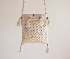 Checkout this amazing product Crochet bag - Pure Cotton, Cream, Natural, Handmade, Silk lining, Crossover, Shoulder, eco fashion at Shopintoit