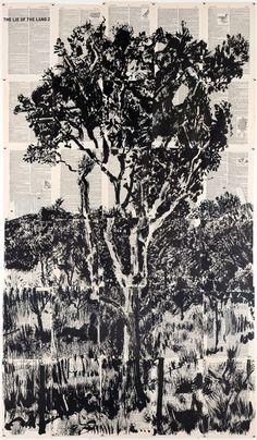 William Kentridge - Lekkerbreek - 2013 - Linocut