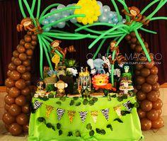Cumple Magico: Ambientación LA SELVA Decoración en globos y Candy...