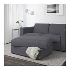 IKEA - VIMLE, Footstool with storage, Gunnared beige, , Rest your feet on the ottoman or attach it to the end of your sofa for an additional seat.The ottoman has an extra storage space under the seat for all those little things you have in your home.