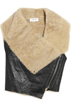 Cropped Leather and Shearling Vest, Helmut Lang