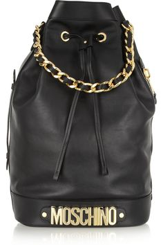 Moschino|Oversized leather bucket bag|NET-A-PORTER.COM
