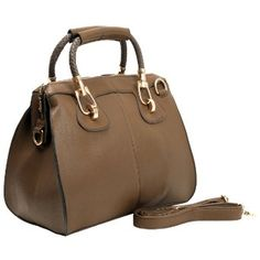 Amazon.com: MARISSA Taupe Office Tote Top Double Handle Doctor Style Bowler Handbag Satchel Purse Shoulder Bag: Clothing