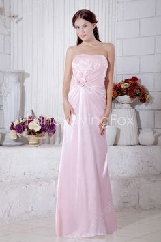 Pearl Pink Satin Sweetheart Neckline Column Full Length Bridesmaid Dresses With Handmade Flowers