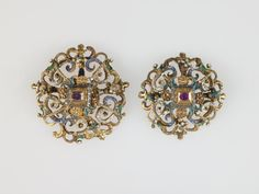 Decorative Rosettes, Europe 1500's | These dress ornaments are easy to mimic the look of by using vintage clip-on earrings.