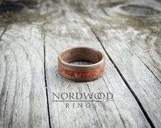 American walnut with red coral inlay