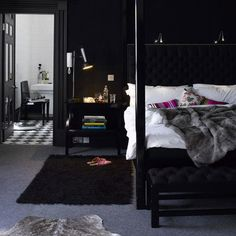 The Dark Side: Beautiful Black Furniture & Accessories Color Roundup | Apartment Therapy  Love cosy bedrooms.