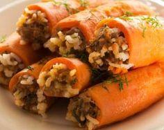 Roulés de carottes farcis au riz et au boeuf haché maigre : http://www.fourchette-et-bikini.fr/recettes/recettes-minceur/roules-de-carottes-farcis-au-riz-et-au-boeuf-hache-maigre.html