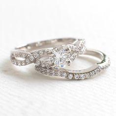 Art Deco Wedding Ring Set - Vintage Engagement Ring Set - Women Ring size 9 - Cubic Zirconia Ring - Engagement Gift by ZAKVI on Etsy https://www.etsy.com/listing/252912414/art-deco-wedding-ring-set-vintage