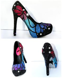 Butterfly Heels that are Hand Painted Glittered by WickedAddiction