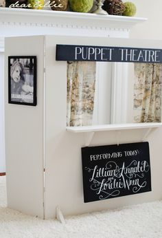 Dear Lillie: Puppet Theatre.  I bet I could make this myself!!!  I love the idea of making posters of the kids (or their puppets) as the star acts!
