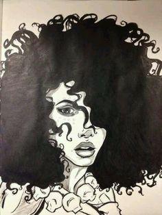♥♥♥ Pics Art, Art Pictures, Natural Hair Art, Natural Curls, Black Artwork, Afro Art, Black Women Art, Dope Art, African American Art